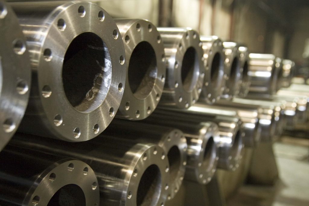 stacks of machined parts